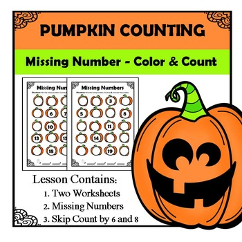 Kindergarten Math Pattern Recognition - Counting Pumpkins - Missing Numbers