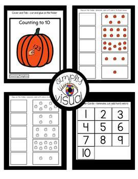 Counting Pumpkins to 10 File Folder Activities