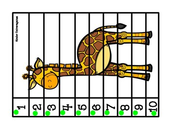 Counting Puzzles 1-10 Zoo Theme