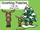 Counting Puzzles 1 to 10 Winter Theme
