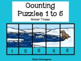 Counting Puzzles 1 to 5 Winter Theme