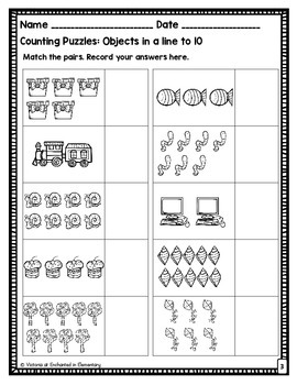Counting Puzzles Set 2: Objects in lines to 10