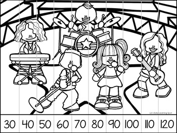 Counting Puzzles to 120: Skip Counting, 1-120, Number Words