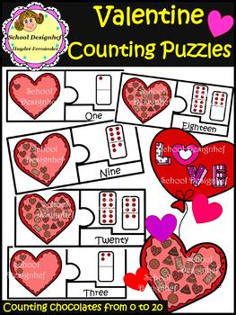 Counting Puzzles - Valentine's Chocolates - Math Centers Ideas(School Designhcf)