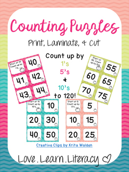 Counting Puzzles by 1's, 5's, & 10's UP TO 120!