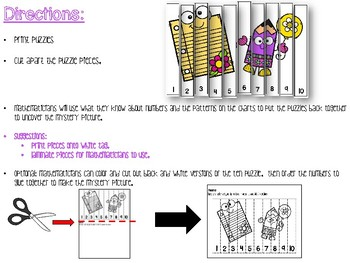 Counting Puzzles to 10 Back to School Theme