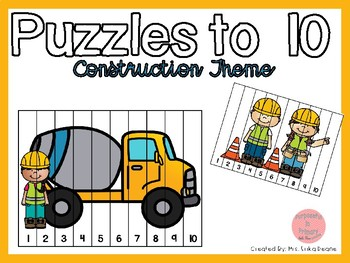Counting Puzzles to 10 Construction Theme