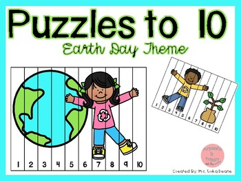 Counting Puzzles to 10 Earth Day Theme
