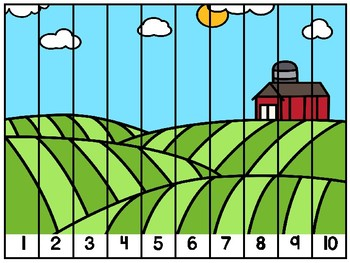 Counting Puzzles to 10 Farm Theme