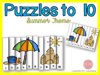 Counting Puzzles to 10 Summer Theme