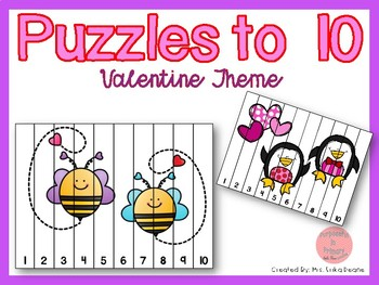 Counting Puzzles to 10 Valentine Theme