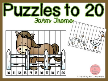 Counting Puzzles to 20 Farm Theme