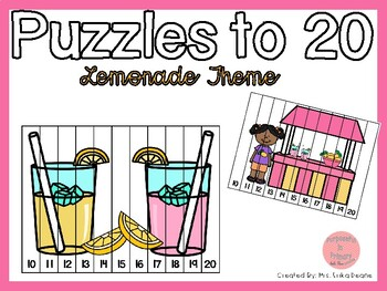 Counting Puzzles to 20- Lemonade Theme