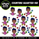 Counting Quarter Kid Clip Art