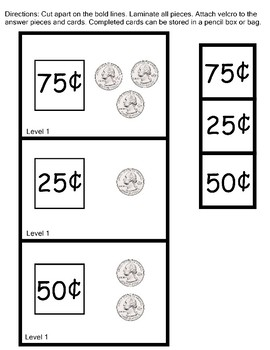 Counting Quarters Work Task Box 2 Levels