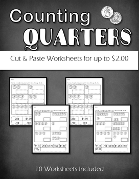 Counting Quarters  up to $2.00  Cut and Paste