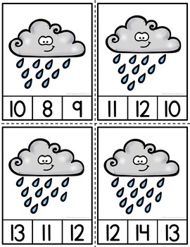 Counting Raindrops Clip Cards and Reader 1-12