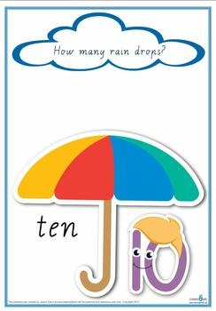 Counting Raindrops Printable Maths Games and Activities (Cursive Print)