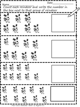 Counting Reindeer 1-12 Interactive notebook