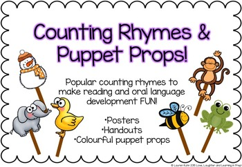 Counting Rhymes & Puppet Props! Make reading and oral language development fun!