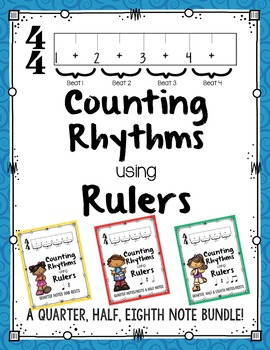 Counting Rhythms using Rulers:Quarter,Half,Eighth Note Bundle!