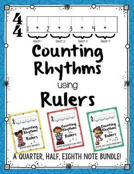 Counting Rhythms using Rulers:Quarter,Half,Eighth Note Bundle!