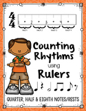 Counting Rhythms using Rulers: Quarter, Half, & Eighth Notes (+ single 8ths)