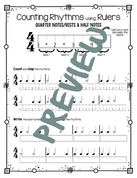 Counting Rhythms using Rulers: Qtr Notes/Rests & Half Notes