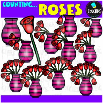 Counting Roses Clip Art Bundle  {Educlips Clipart}