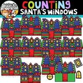 Counting Santas Windows Clipart {Christmas Clipart}