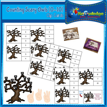 Counting Scary Owls Clip Cards (0-10)