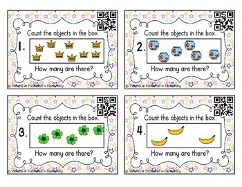 Counting Scattered Objects Task Cards Set 1: Kinder CC: Counting and Cardinality