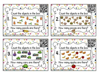 Counting Scattered Objects Task Cards Set 2: Kinder CC: Counting and Cardinality