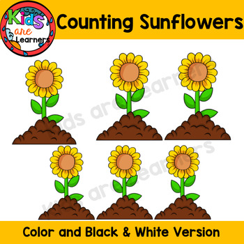Sunflowers Counting Clipart Set {Kids are Learners Clips}