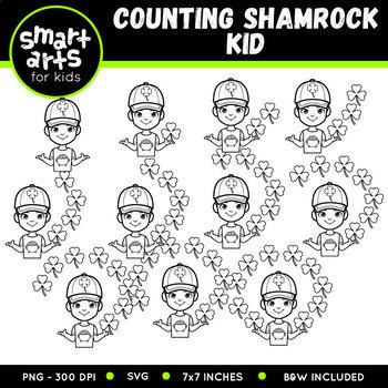 Counting Shamrock Kid Clip Art