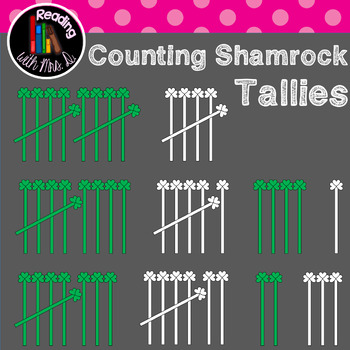 Counting Shamrock Tallies Clip Art (color AND b/w)
