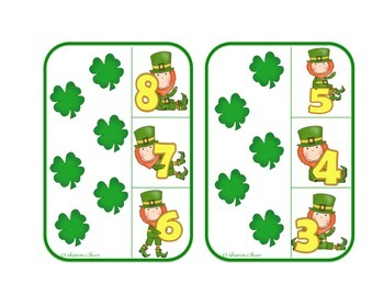 Counting 1-20 with Four Leaf Clovers - St. Patrick's Day Clip Cards