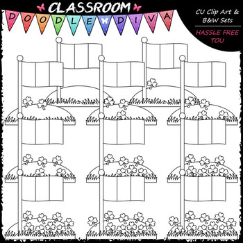 (0-10) Counting Shamrocks - Sequence, Counting & Math Clip Art & B&W Set