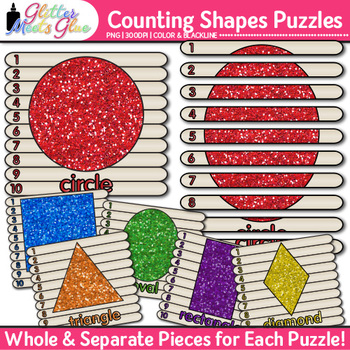 Counting Shapes Puzzles Clip Art {Sorting Manipulatives fo