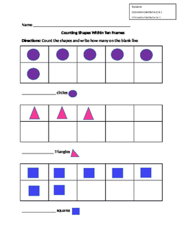 Counting Shapes In Ten Frames