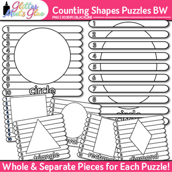 Counting Shapes Puzzles Clip Art | Great for Worksheets & Handouts | B&W