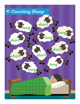 Counting Sheep Short and Long E Phonics Game - Words Their Way Game
