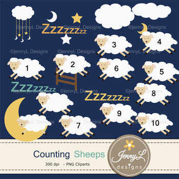 Counting Sheep digital paper and clipart