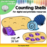 Counting Shells on the Beach Clip Art (for Printable and Movable)