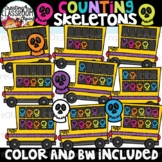 Counting Skeletons Clipart {Halloween Clipart}