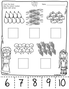 Counting Skill 1-10 Cut and Paste - Thanksgiving Themed PreK Worksheet
