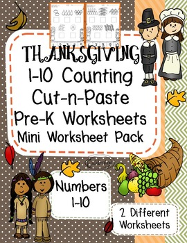 Counting Skill 1-10 Cut and Paste - Thanksgiving Themed Pr