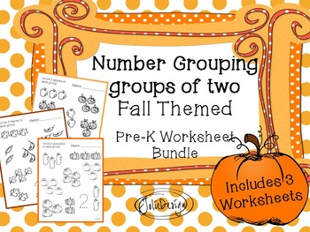 Counting Groups of Two - Fall Themed PreK Worksheet