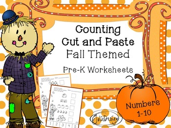 Counting Skill 1-10 Cut and Paste - Fall Themed PreK Worksheet