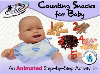 Counting Snacks for Baby - Animated Step-by-Step Activity - SymbolStix